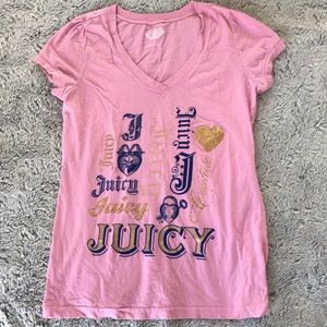 Juicy Couture V-neck Glitter Tee